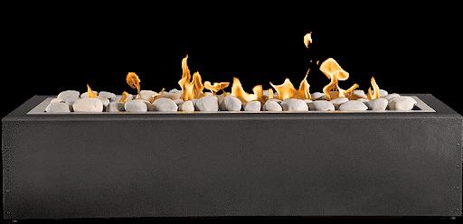 long pan of burning rocks