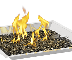square pan with mulch on fire