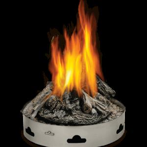 pan of flaming logs